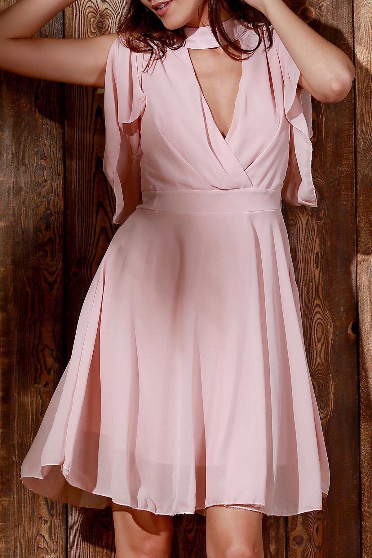 V-Neck Flouncing Sleeve Pink Chiffon Dress