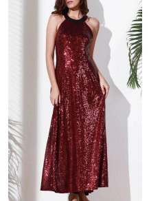 Sequins Sleeveless Backless Maxi Dress