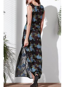 Floral Embroidered Round Neck Sleeveless Dress