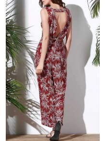 Floral V Neck Sleeveless Hollow Jumpsuit