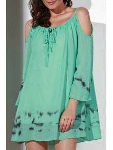 Printed V-Neck Cut Out Chiffon Dress
