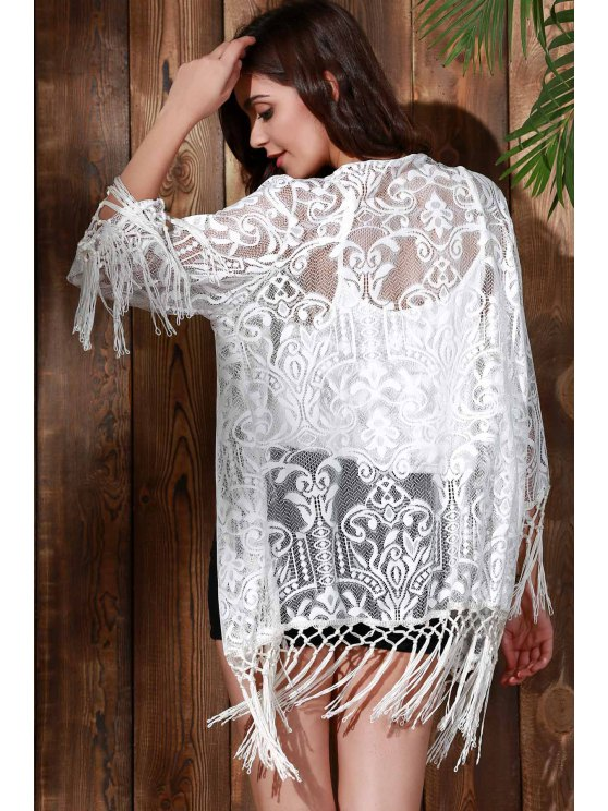 Tassels Spliced Lace Cover Up - WHITE M Mobile