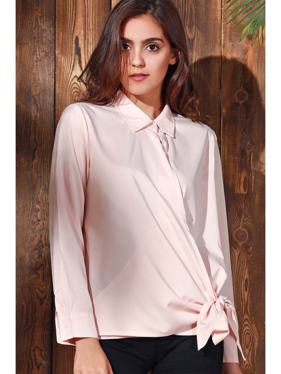 Solid Color Shirt Collar Long Sleeve Knotted Blouse - PINK L Mobile