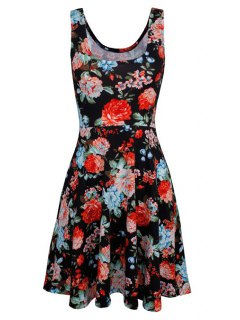 Sleeveless Chiffon Flroal Flowing Dress - Black Xl