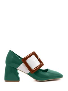Color Block Buckle Square Toe Pumps - Green 37