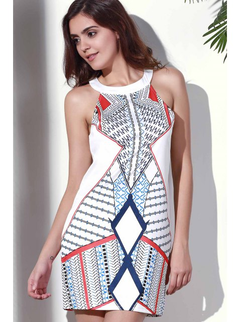 best Geometric Pattern Round Collar Dress - WHITE S Mobile