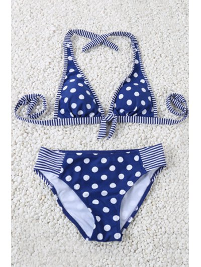 Polka Dot Halter Striped Bikini Set - Blue L