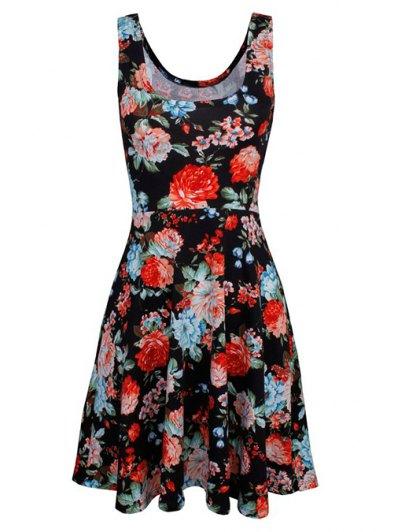 Sleeveless Chiffon Flroal Dress - BLACK L Mobile