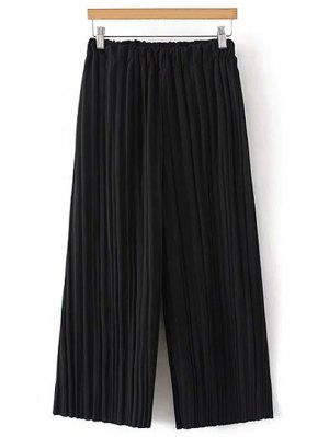 Pure Color Pleated Cropped Pants - Black