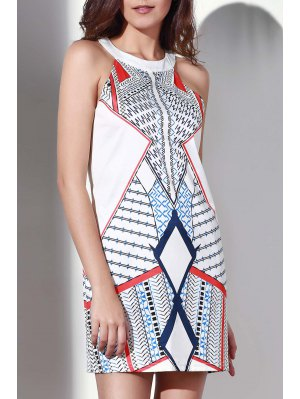 Geometric Pattern Round Collar Dress - White
