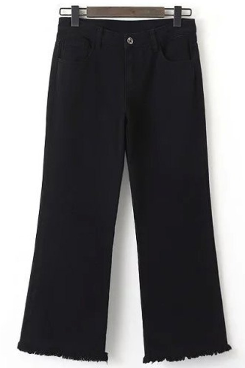 Frayed Cropped Black Jeans