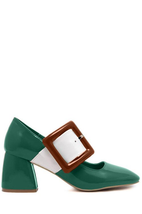 Color Block Buckle Square Toe Pumps