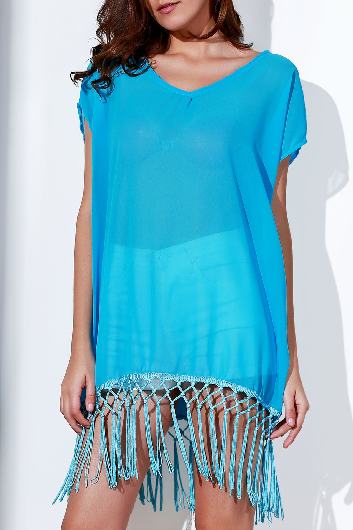 Round Collar Short Sleeve Tassels Spliced Cover Up
