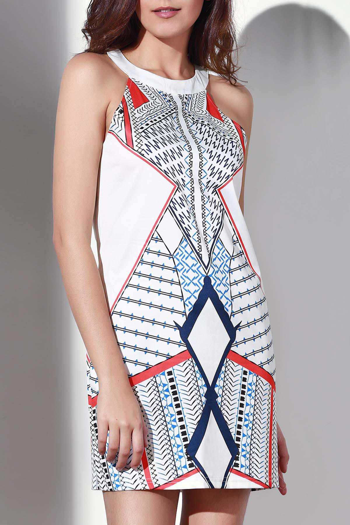 Round Collar Geometric Pattern Dress