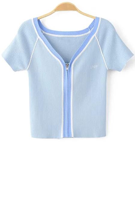 V Neck Short Sleeve Color Block Cropped T-Shirt