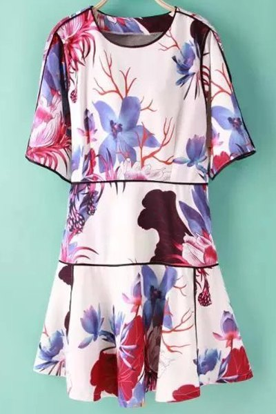 Jewel Neck Half Sleeve Floral Print Dress