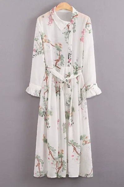 Turn Down Collar Long Sleeve Floral Dress and Cami Dress Twinset