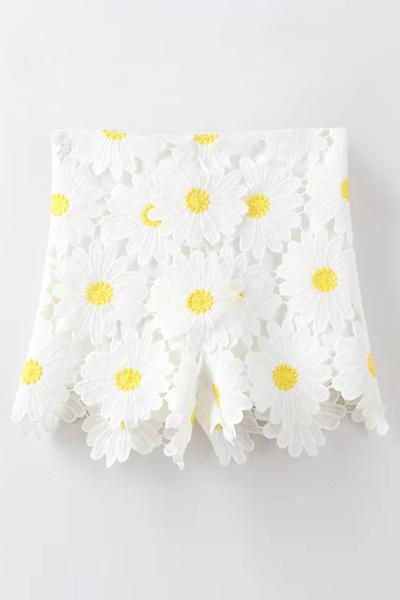 High Waist Sunflowers Lace Shorts