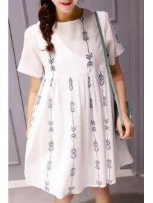 High-Waisted White Flare Dress - White