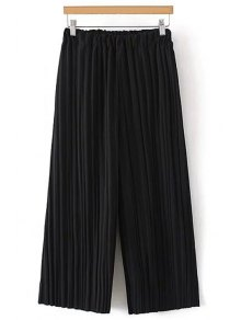 Pure Color Pleated Cropped Pants