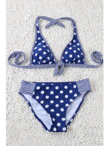 Polka Dot Halter Striped Bikini Set