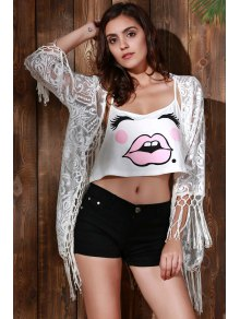 Tassels Spliced Lace Cover Up - WHITE S