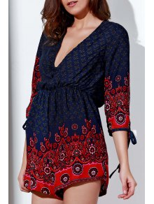 Cut Out Plunging Neck 3/4 Sleeve Printed Romper