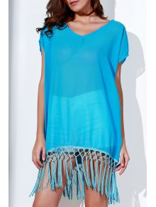 Tassels Spliced Round Collar Short Sleeve Cover Up