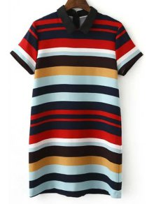 Stripe Turn Down Collar Short Sleeve Dress
