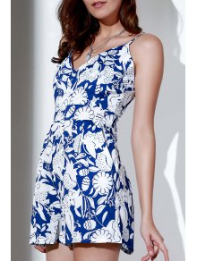 Printed Spaghetti Strap Backless Romper