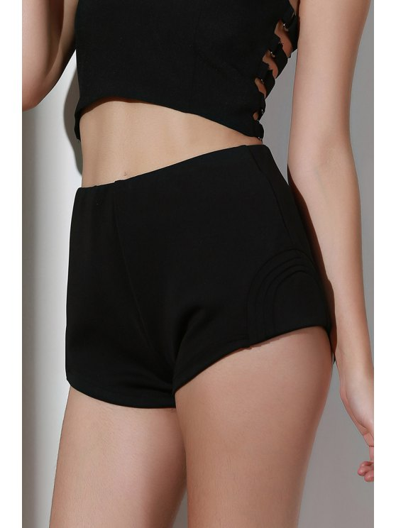 High-Waisted Black Shorts - BLACK S Mobile