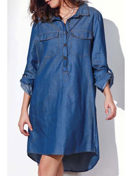 shop Button Design Rolled Up Sleeve Shirt Dress - BLUE XL