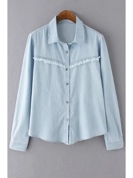 المتوترة بليتش غسل القميص الدينيم - الضوء الأزرق L
