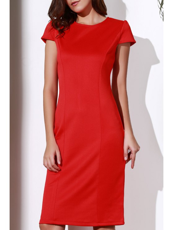 Round Neck Sleeveless Pencil Work Dres - RED M Mobile