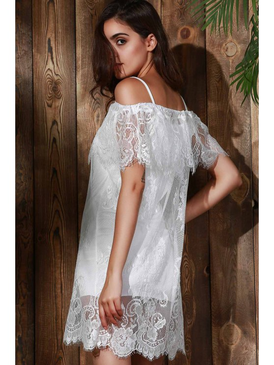 See-Through Off The Shoulder Lace Dress - WHITE S Mobile