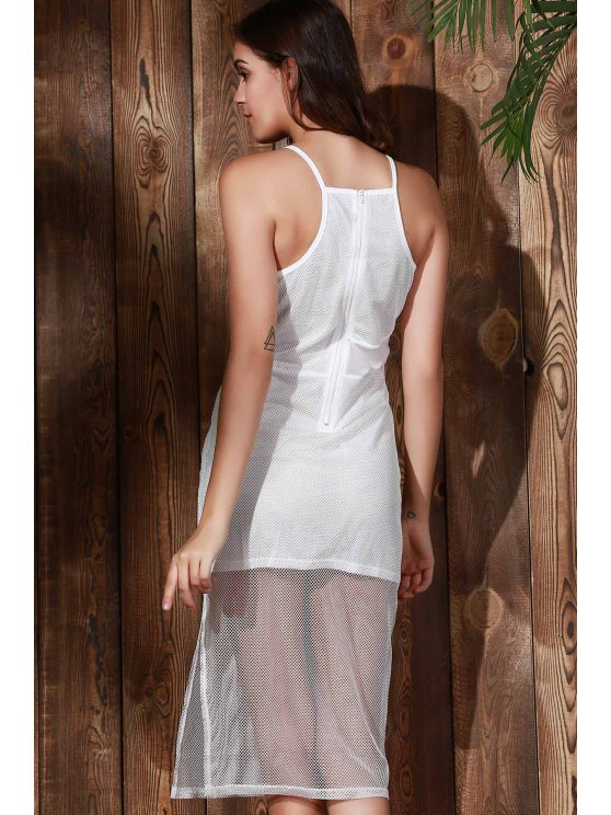 Double-Layered Spaghetti Straps Beach Dress - WHITE M Mobile