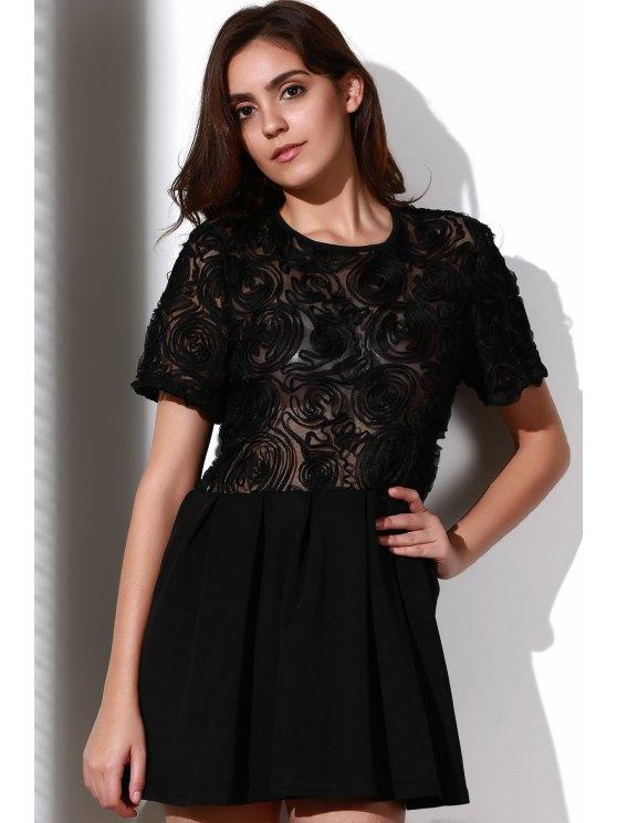 Flower Pattern See-Through Skate Dress - BLACK XL Mobile