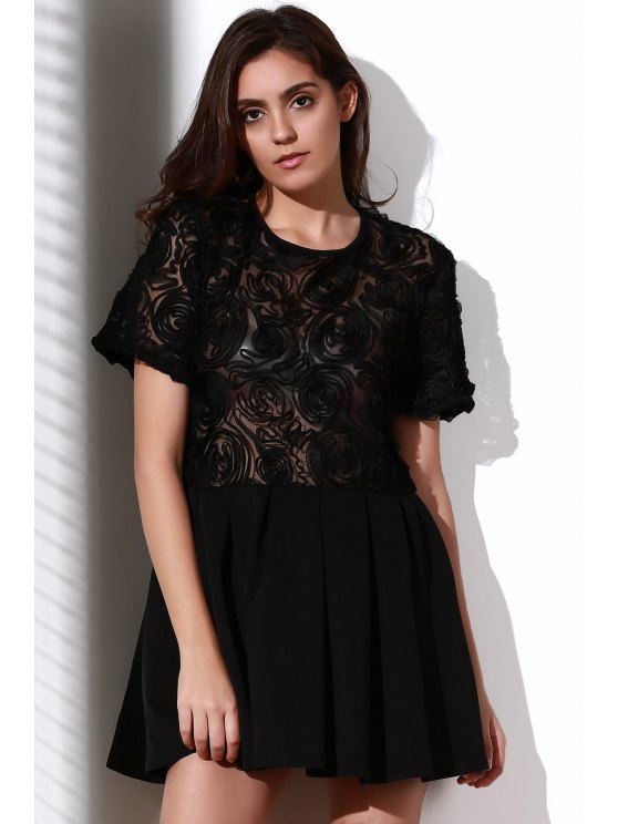 Flower Pattern See-Through Skate Dress - BLACK XL Mobile