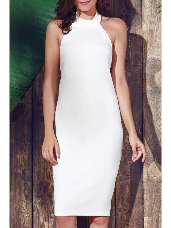 lady Halter Sleeveless Sheath Midi Dress - WHITE 2XL