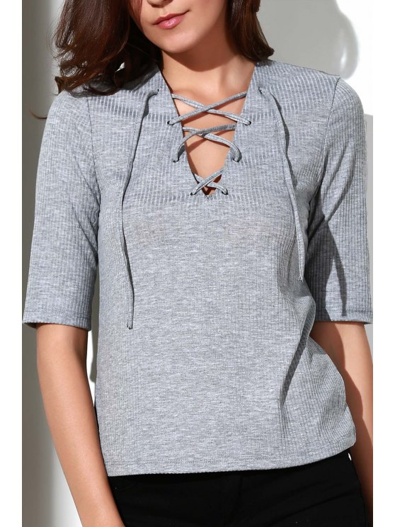 fashion Pleated Plunging Neck Short Sleeve T-Shirt - GRAY L