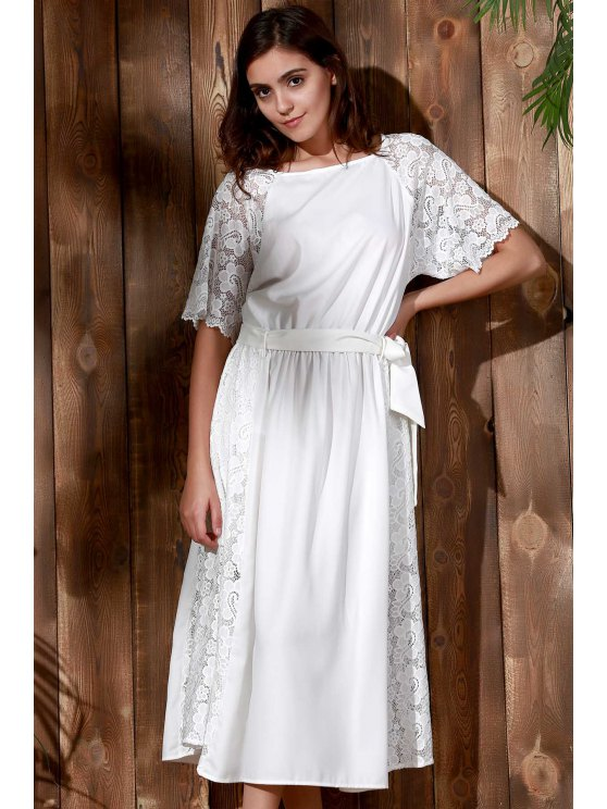 Combined Lace Flare Sleeve Dress - WHITE L Mobile