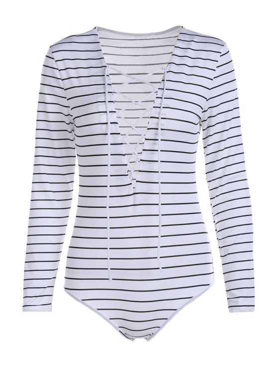 sale Striped Plunging Neck Long Sleeve Lace Up Bodysuit - WHITE L