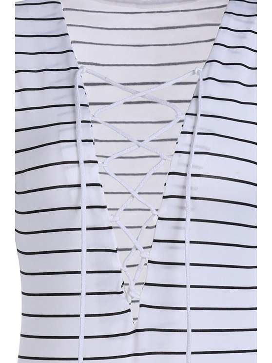 Striped Plunging Neck Long Sleeve Lace Up Bodysuit - WHITE S Mobile