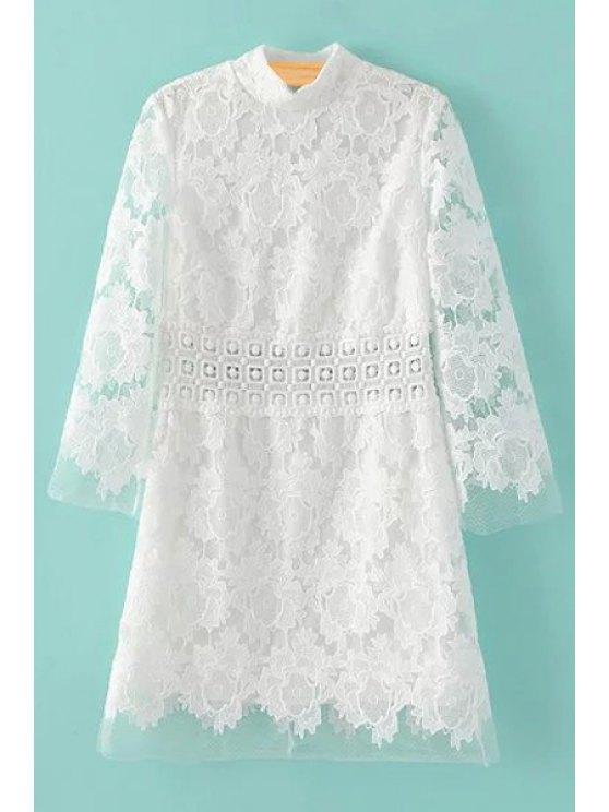 Vestido de encaje blanco Medio Cuello de ganchillo flor - Blanco M