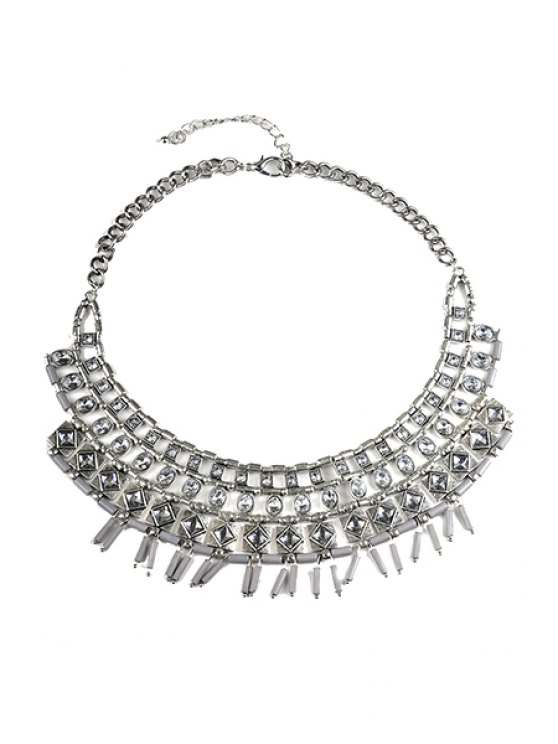 womens Rhinestone Decorated Fake Collar Necklace - SILVER