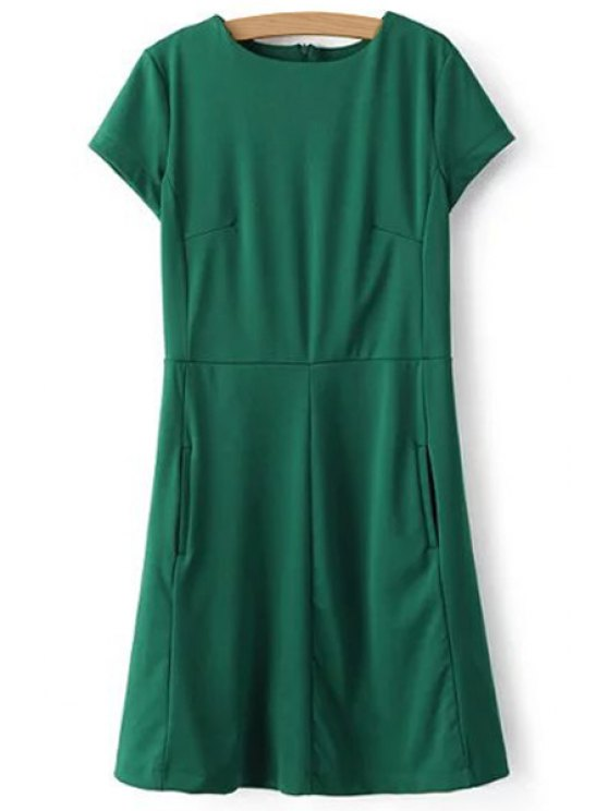 affordable Green Round Neck Short Sleeve Dress - GREEN S