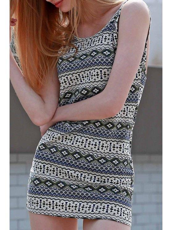 La impresión de Argyle Cami Vestido ajustado - Colormix XL