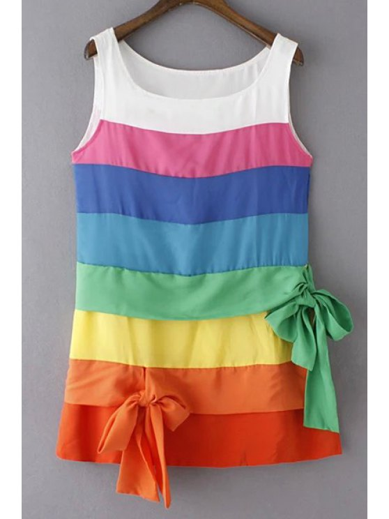 new Colorful Stripe Scoop Neck Sundress - COLORFUL L