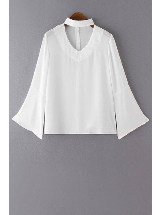 Color sólido cuello en V de la llamarada de la manga de la blusa - Blanco L