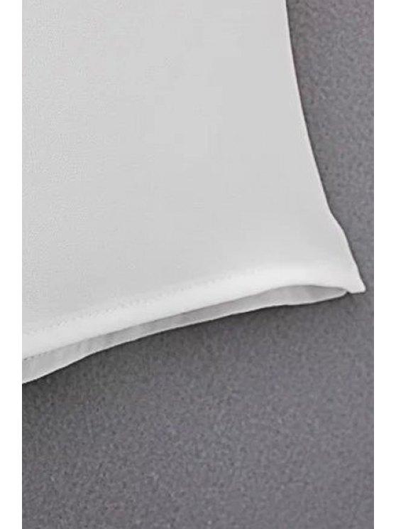V Neck Flared Sleeve Choker Blouse - WHITE L Mobile